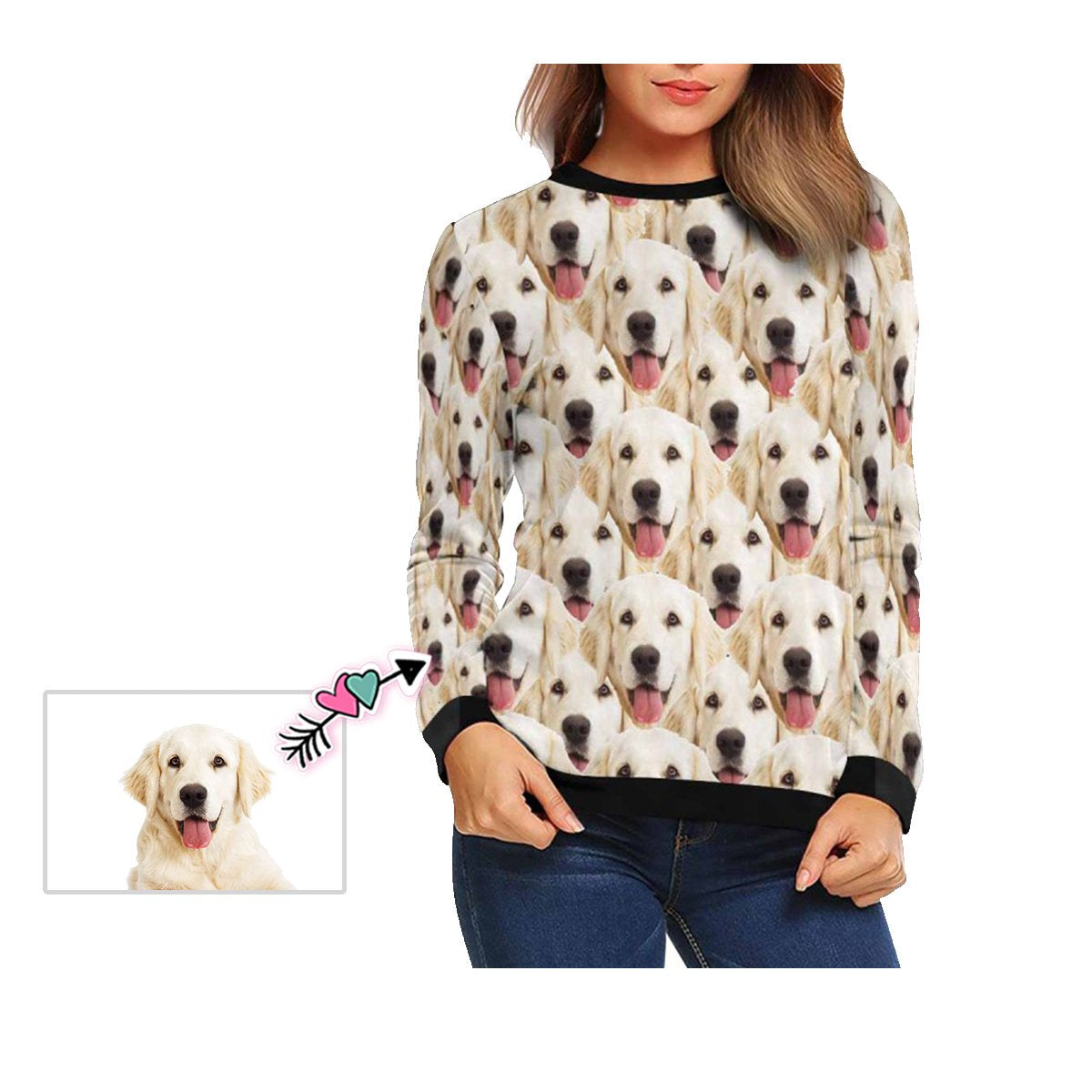 Custom Pet Face Women's Crewneck Sweatshirt customweekend