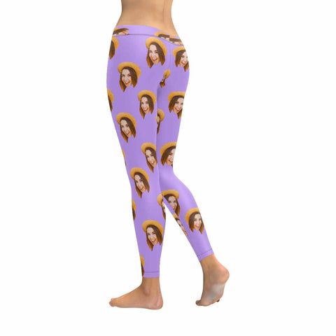 Custom Woman Face Low Rise Leggings