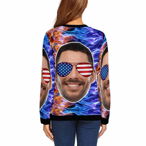 Custom Boyfriend Face Stars Stripes Glasses Women's Crewneck Sweatshirt customweekend