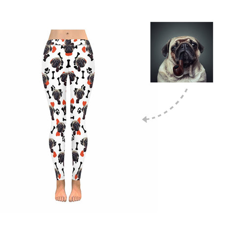 Custom Dog Paw and Bones Low Rise Leggings