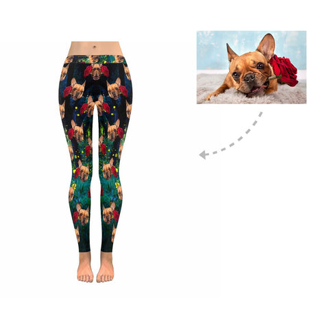 Custom Rose Dog Firefly Low Rise Leggings