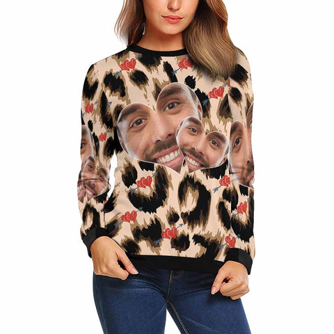 Custom Boyfriend Face Leopard Love Women's Crewneck Sweatshirt customweekend