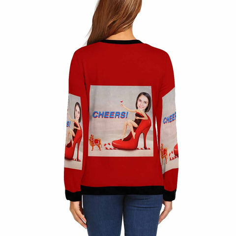 Custom Face High Heel Women's Crewneck Sweatshirt customweekend