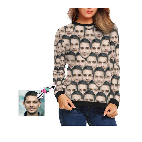 Custom Boyfriend Face Seamless Women's Crewneck Sweatshirt customweekend