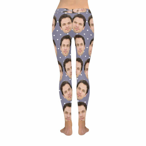 Custom Face Blue Haze Heart All-Over Low Rise Leggings