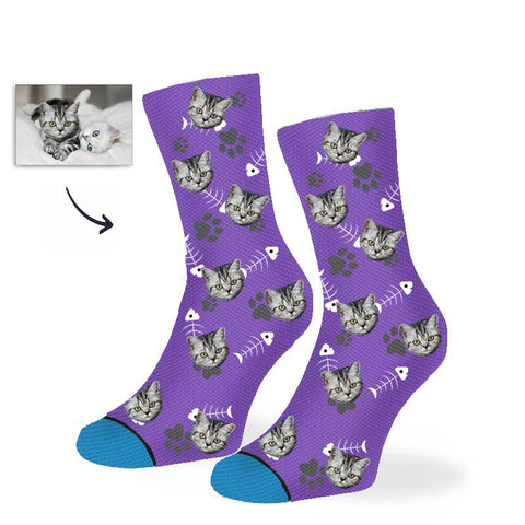 Custom Cat and fish Socks