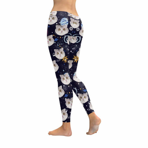 Custom Galaxy Cat Low Rise Leggings