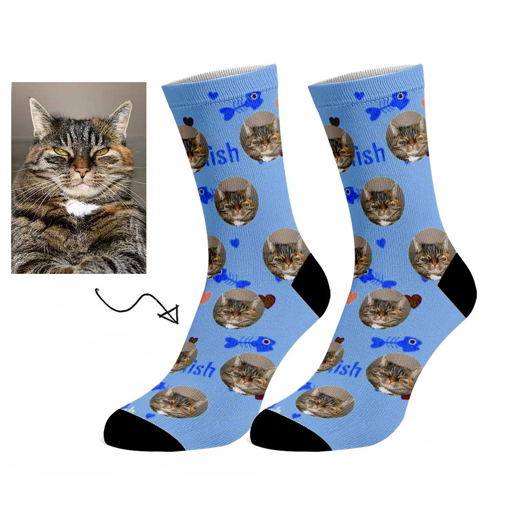 Custom Fish And Cat Face Socks