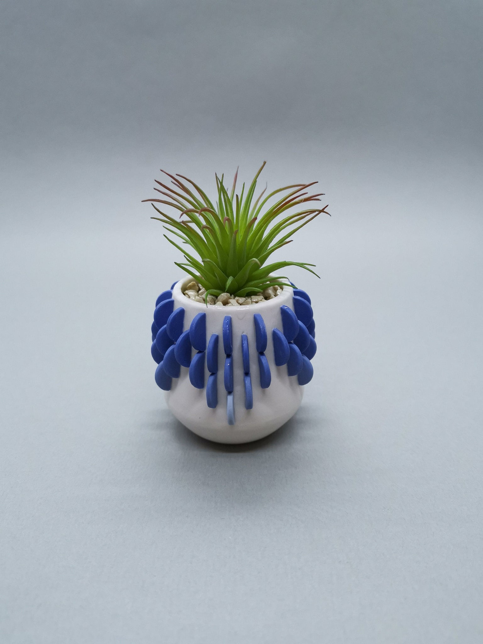 Artificial Succulent in a Blue Gradient Disk Pot