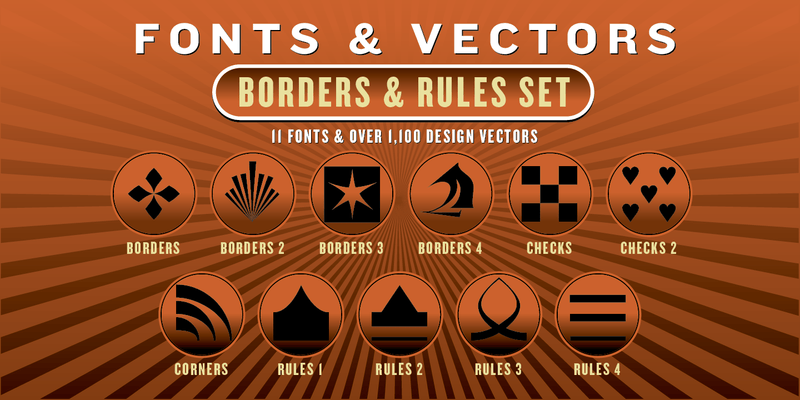 BORDERS & RULES COMBO SET: 11 Fonts + 1,100 Vector Designs - altemusfonts