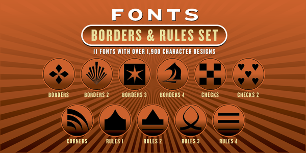BORDERS & RULES FONT SET: 11 Fonts - altemusfonts