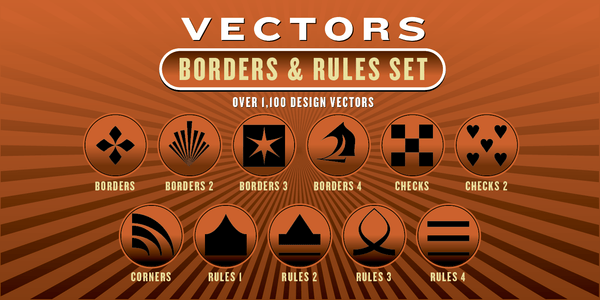 BORDERS & RULES VECTORS SET: 1,100 Designs - altemusfonts