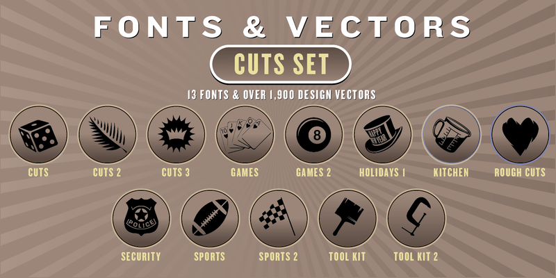 CUTS COMBO SET: 13 Fonts + 1,900 Vector Designs