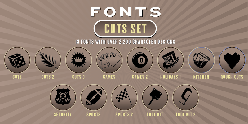 CUTS FONT SET: 13 Fonts