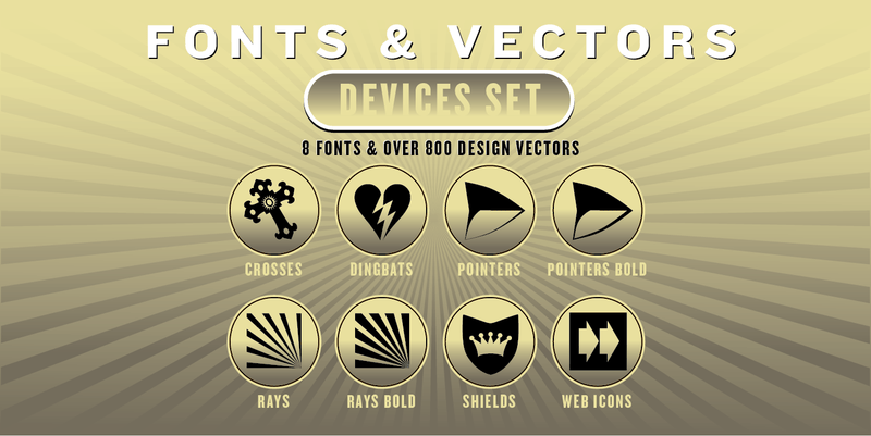 DEVICES COMBO SET: 8 Fonts + 800 Vector Designs