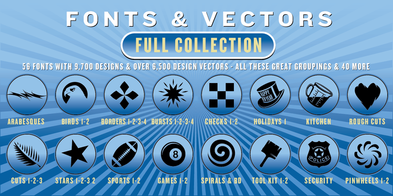 FULL COLLECTION COMBO SET: 56 Fonts & 6,500 Vector Designs