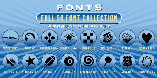 FULL COLLECTION FONT SET: 56 Fonts