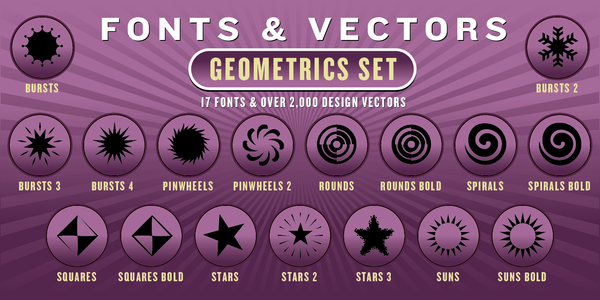 GEOMETRICS COMBO SET: 17 Fonts + 2,000 Vector Designs - altemusfonts