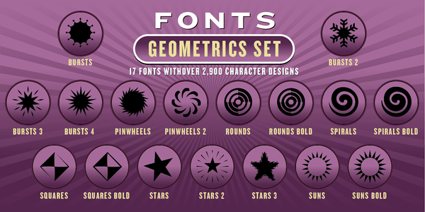 GEOMETRICS FONT SET: 17 Fonts - altemusfonts