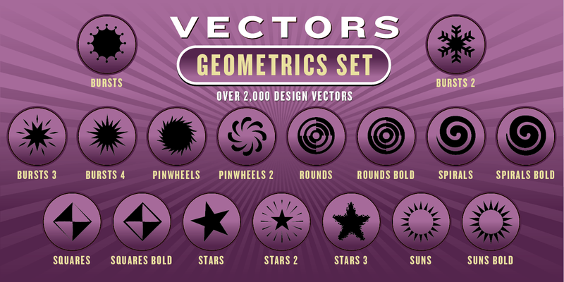GEOMETRICS VECTORS SET: 2,000 Designs - altemusfonts