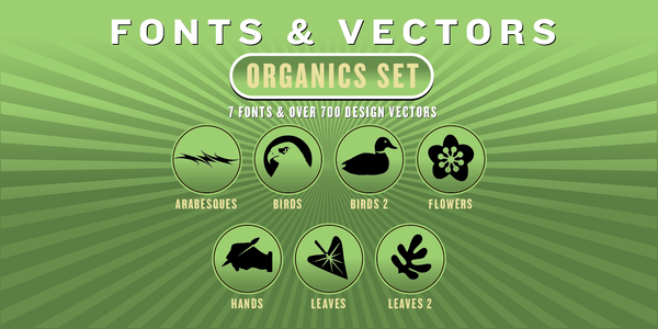 ORGANICS COMBO SET: 7 Fonts + 700 Design Vectors - altemusfonts