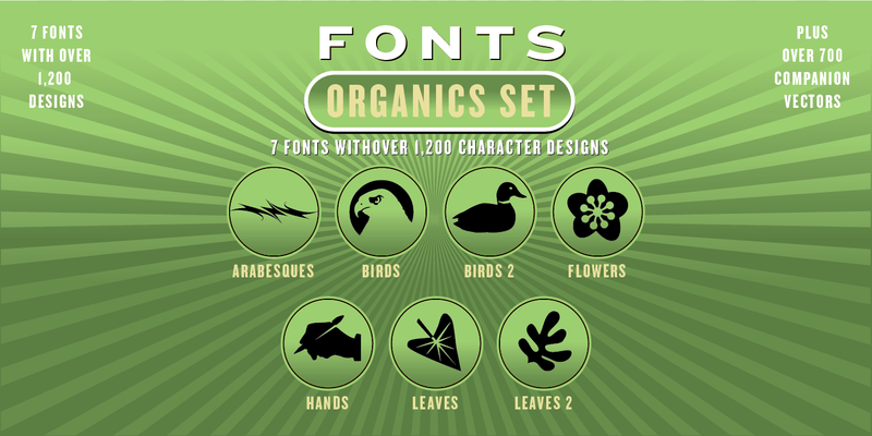 ORGANICS FONT SET: 7 Fonts - altemusfonts