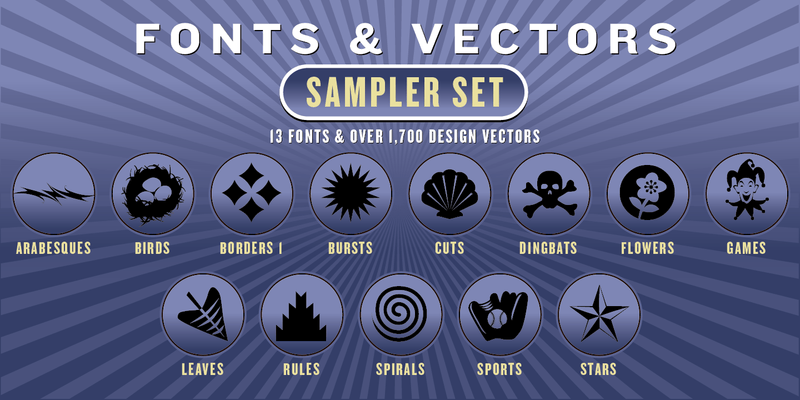 SAMPLER COMBO SET: 13 Fonts + 1,700 Vector Designs - altemusfonts