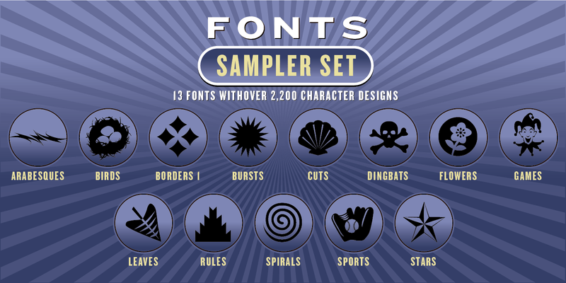 SAMPLER FONT SET: 13 Fonts - altemusfonts
