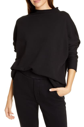 Frank and Eileen Frank & Eileen - L/S Funnel Neck Capelet - Black Black