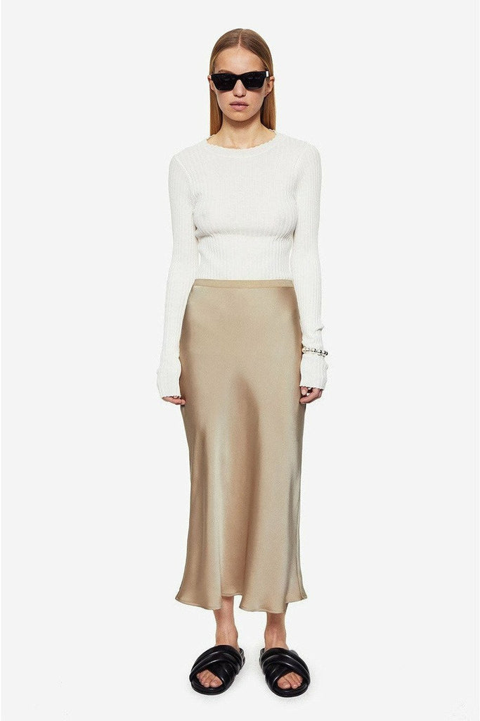 ANINE BING Anine Bing - Bar Silk Skirt - Beige White Smoke