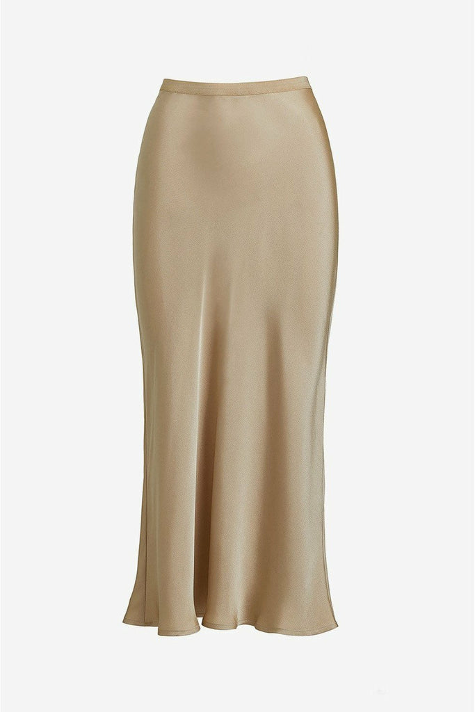 ANINE BING Anine Bing - Bar Silk Skirt - Beige Rosy Brown