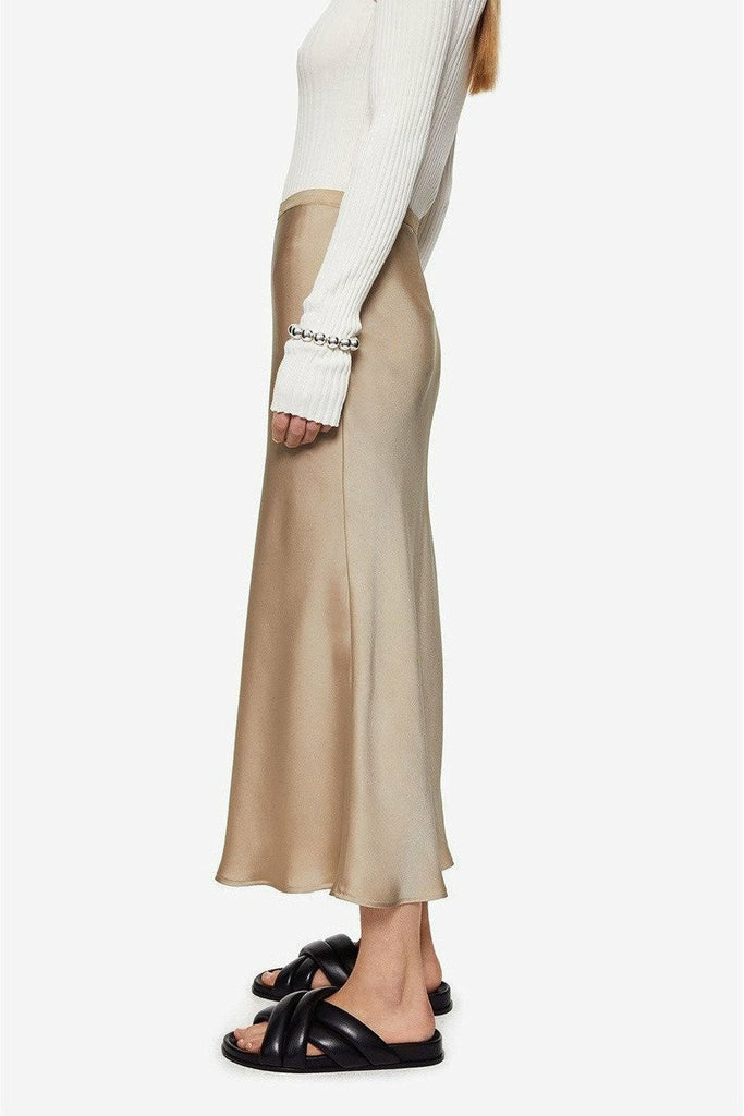 ANINE BING Anine Bing - Bar Silk Skirt - Beige Tan