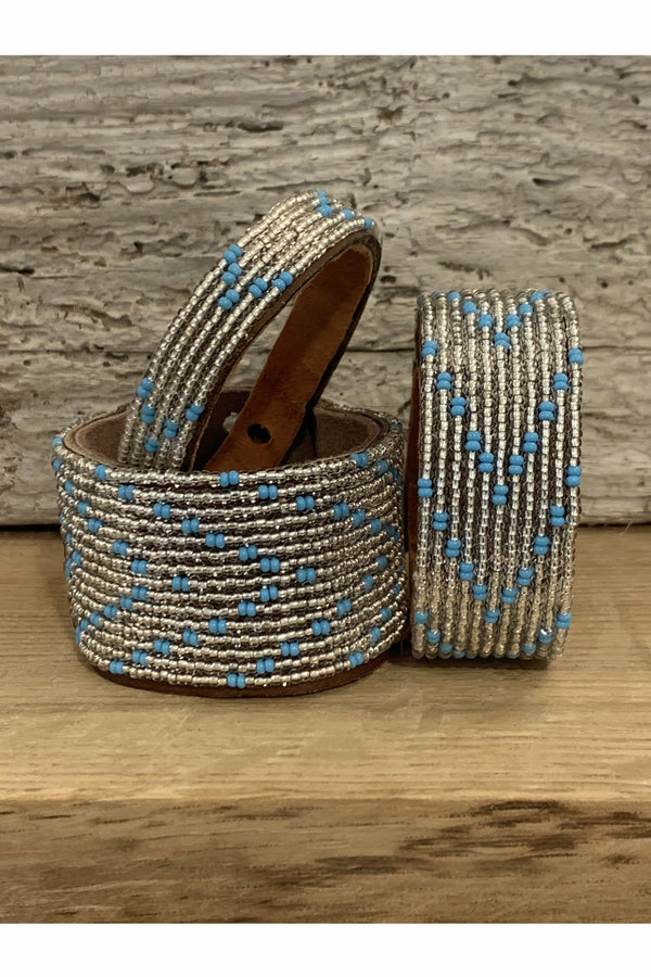 Swahili Coast Swahili Coast - Silver and Blue Chevron Cuff Saddle Brown