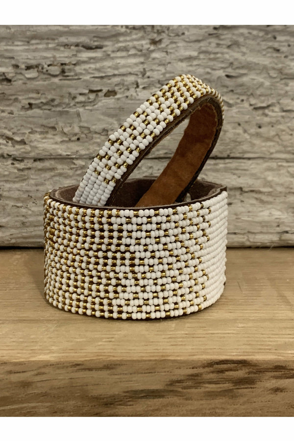 Swahili Coast Swahili Coast - Ombre Gold and White Cuff Rosy Brown