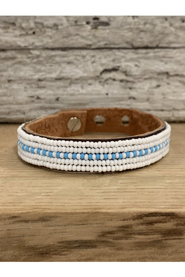 Swahili Coast Swahili Coast - Light Blue Dashes Cuff Rosy Brown