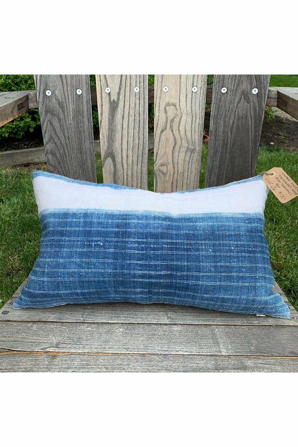 Dune and Salt D+S - Vintage Indigo Engineered Stripe Pillow Steel Blue