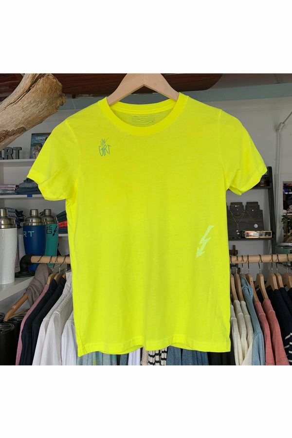 The Girt The Girt - Youth Summer Rollers Tee - Neon Yellow Goldenrod