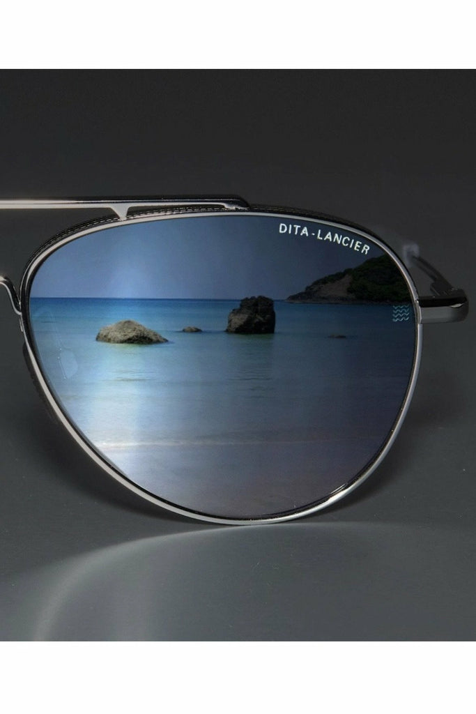 DITA Dita - LSA 406 - Matte Crystal Grey/Black Palladium Polarized Dark Slate Blue