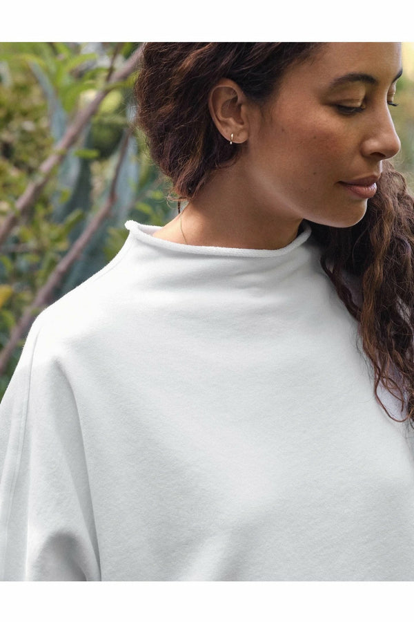 Frank and Eileen Frank & Eileen - L/S Funnel Neck Capelet - White White Smoke