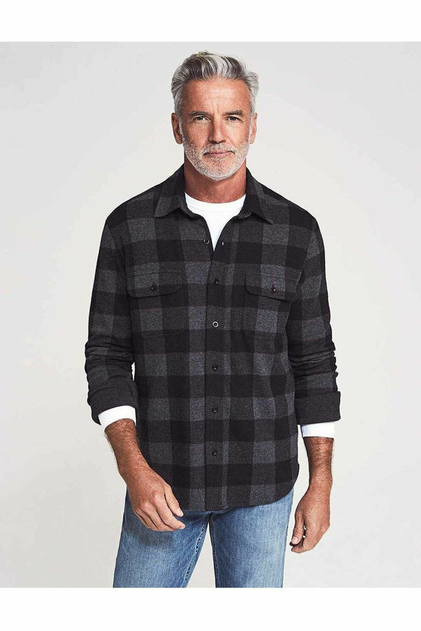 Faherty Faherty - Legend Sweater Shirt - Charcoal Black Buffalo Lavender