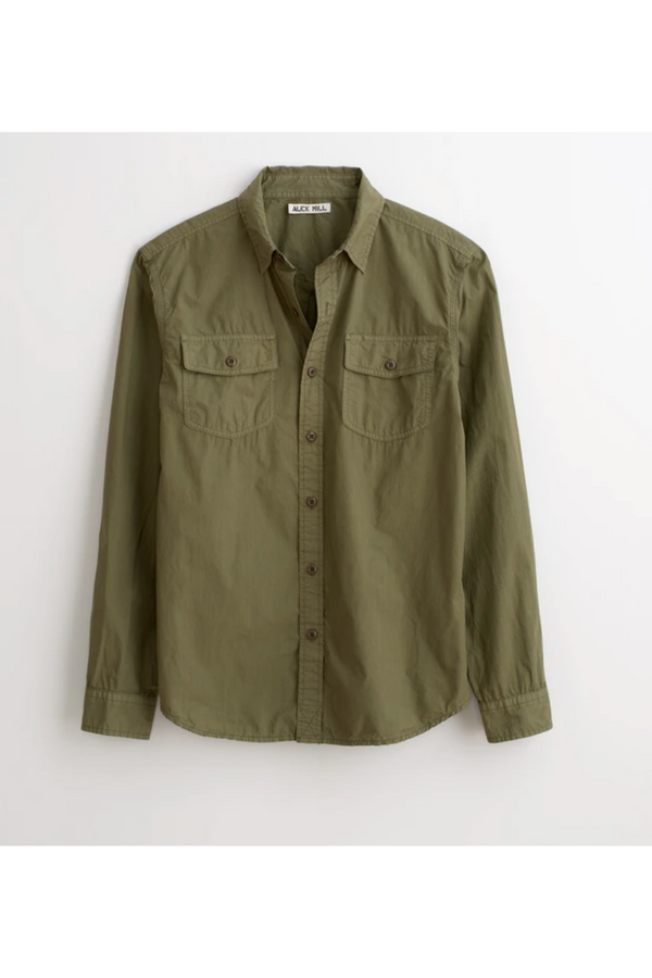 "Alex Mill Alex Mill - Field Shirt in Garment-Dyed ""Paper Cotton"" - Military Green Dark Olive Green"