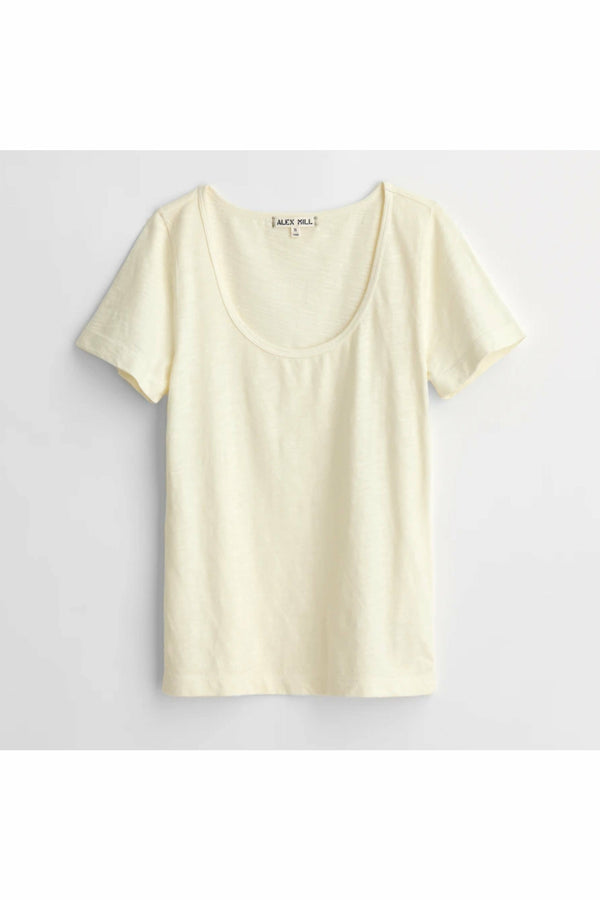 Alex Mill Alex Mill - Scoop Tee in Cotton Slub - Ecru Cream Antique White