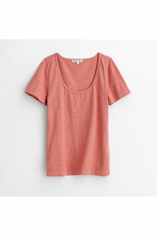 Alex Mill Alex Mill - Scoop Tee in Cotton Slub - Dirty Rose Light Coral