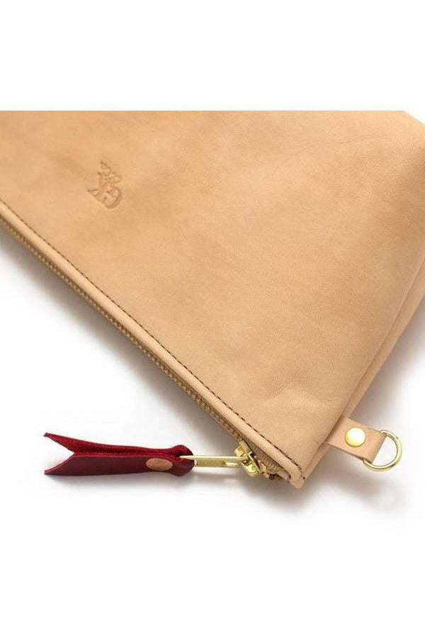 General Knot General Knot - Leather Zipper Clutch - Blonde Snow