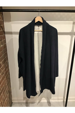 Triple Fleece Drape Coat - Navy Melange