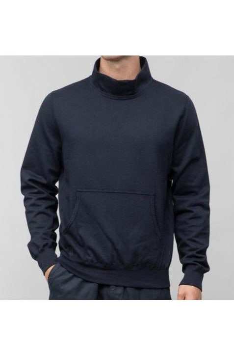 Supima Fleece Mock Neck - Navy