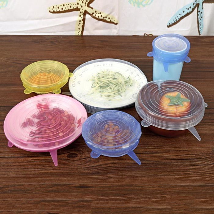 6 Pcs/ Set Silicone Bowl Cover - [Homistic]