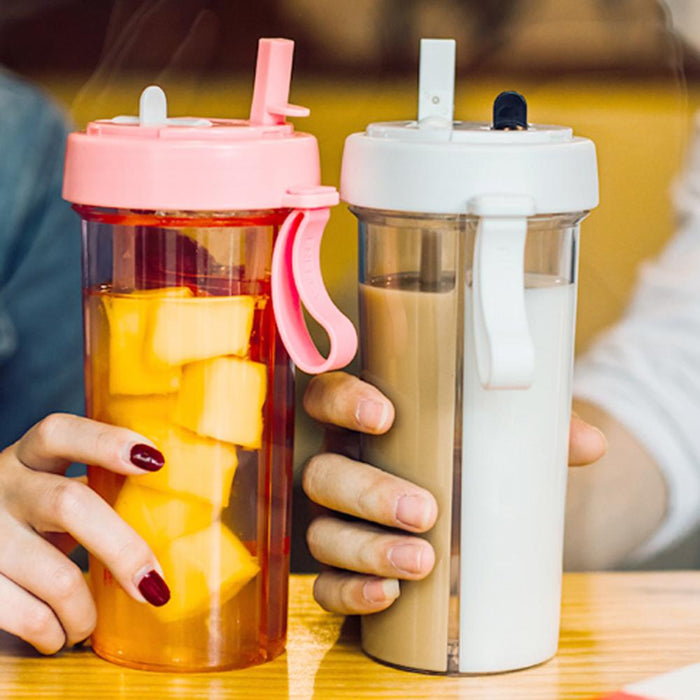 Portable Two Straws Plastic Water Bottle for couples - [Homistic]