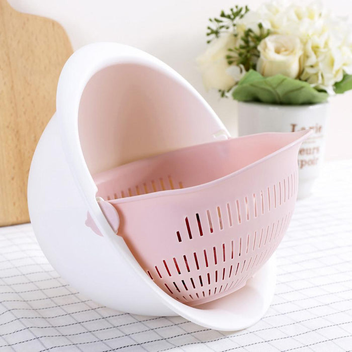 Double Drain Basket Bowl Washing Kitchen Strainer - [Homistic]
