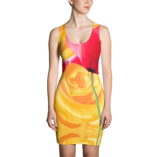 Poppy with stem on yellow rose petal dress